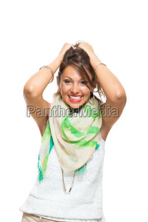 donna ritratto sciarpa fazzoletto da collo