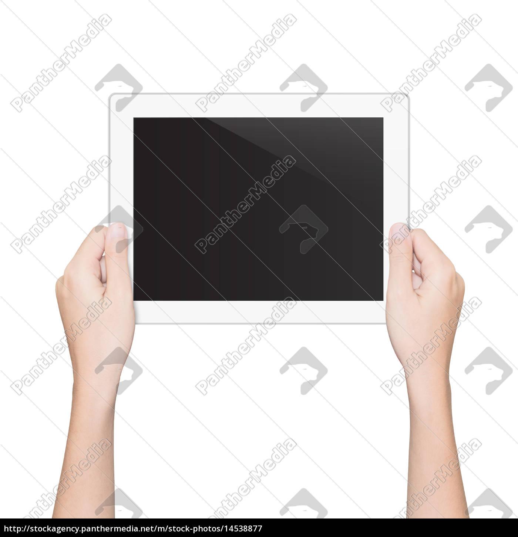 close-up, mano, tenendo, tablet, isolato, percorso - 14538877