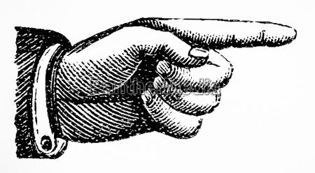 dito destra retro reclamo rivendicazione punto