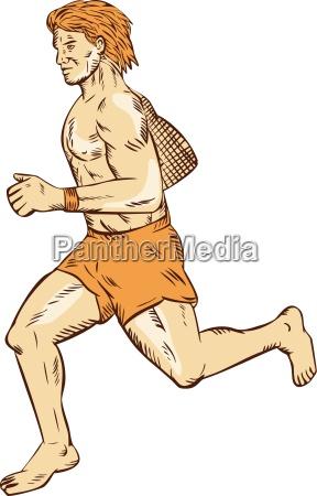 grafica virile mascolino annata scalzo a