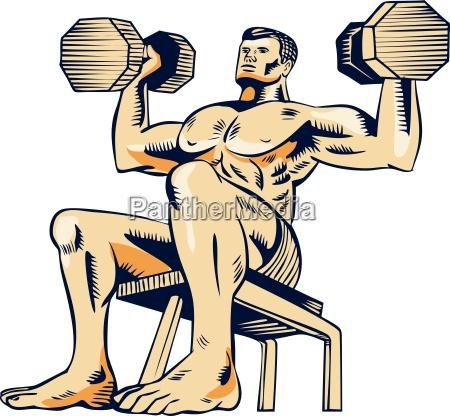 rilasciato grafica virile mascolino muscolo annata