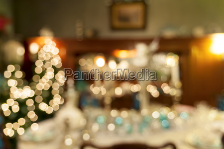christmas holiday dinner table decoration blurred