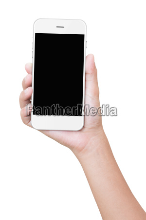 closeup hand holding phone isolated with