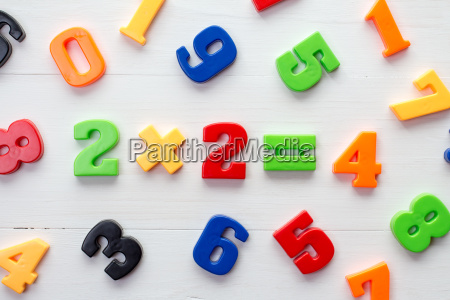 plastic numbers with math formula in