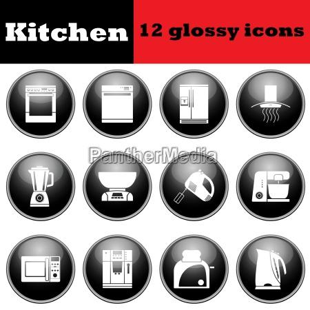 set of glossy kitchen equipment glossy