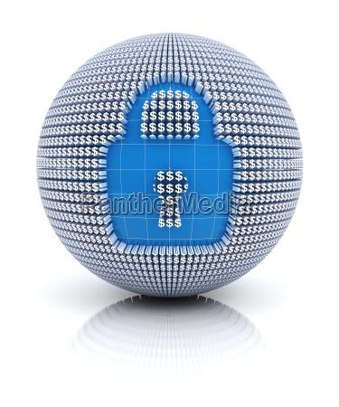 icona di sicurezza su globo formata