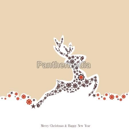 sfondo natalizio con renna decorata stile