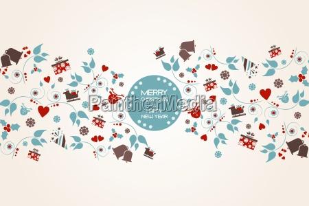 sfondo natalizio vintage con cresta floreale