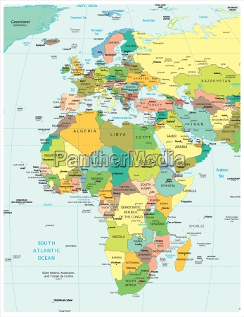mappa della regione africa ed europa