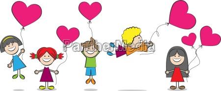 i bambini con palloncini cuore illustrazione