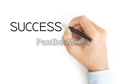 business hand writing success on white