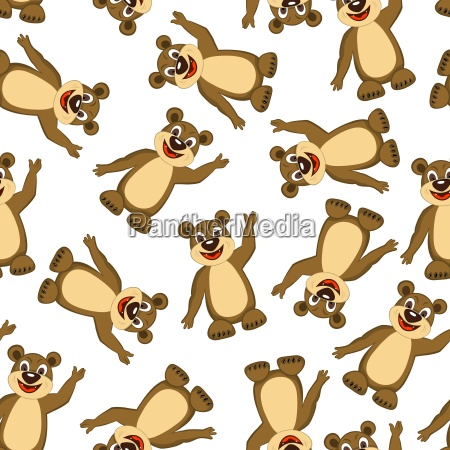 seamless funny cartoon bear