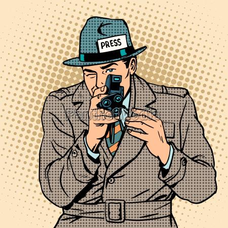 giornalista assume retro macchina fotografica paparazzi