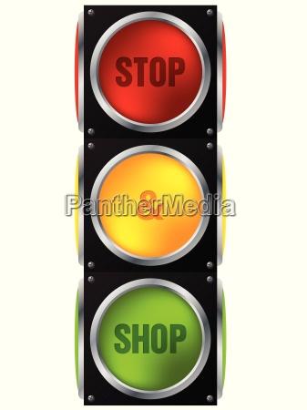 pubblicita stop e negozio semaforo