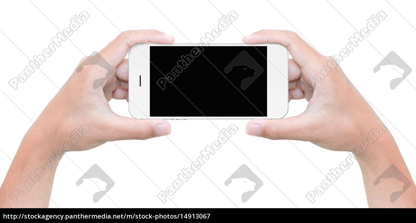 mano, tenere, il, telefono, isolato, su - 14913067