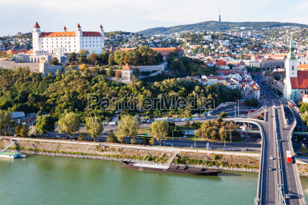 danube, waterfront, , bridge, and, bratislava, city - 15147487
