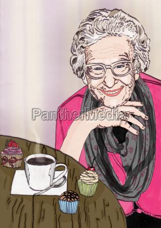 la nonna amichevole si siede al