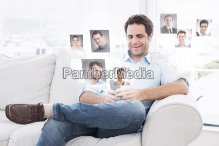 composite image of cheerful man sitting