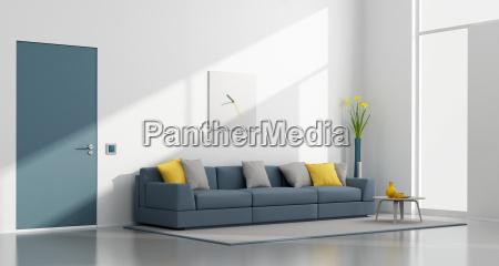 minimalist white and blue lounge