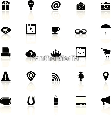 internet website icons with reflect on