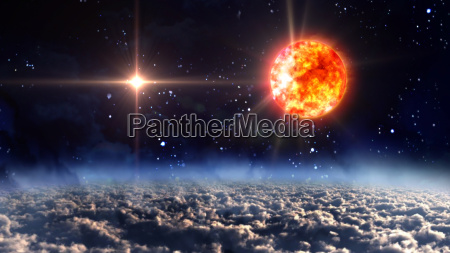 sun with blue planet star lens