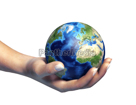 human hand holding the planet earth