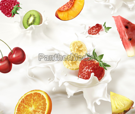 various fruits falling into a sea