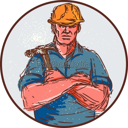builder arms crossed hammer circle drawing