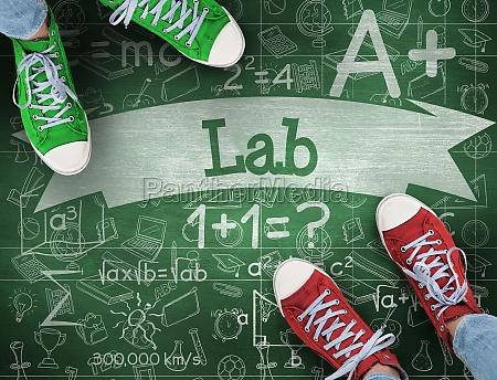 donna blu educazione scienza verde scarpe