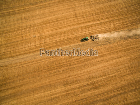 aerial view of a tractor working