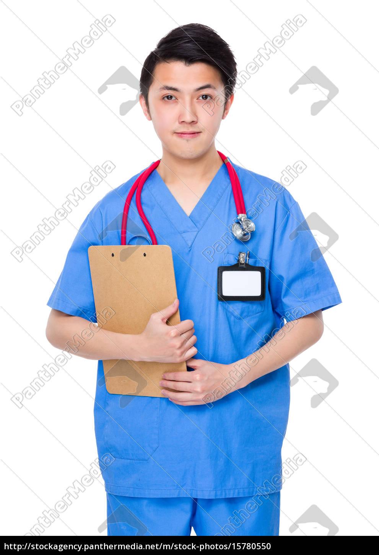 medico, di, sesso, maschile, con, appunti - 15780550
