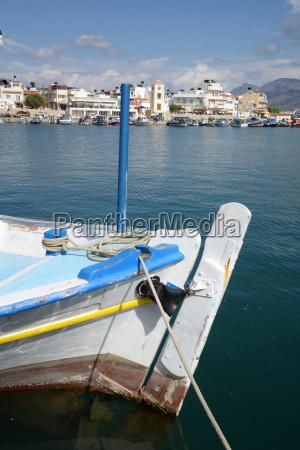 ierapetra crete coast church fishing boat