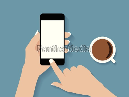 hand holding and touch phone vector