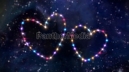 double heart of star in space