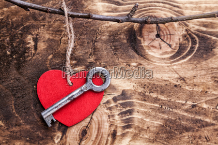 love concept old key and a