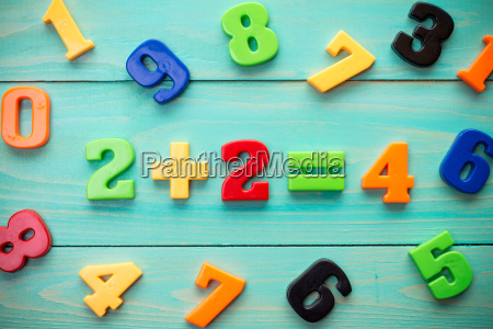 plastic numbers with math example in