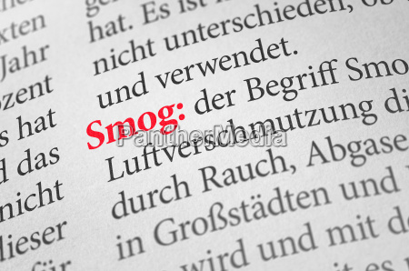 dizionario con il termine smog