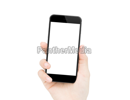 woman hand holding phone isolated clipping