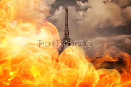 caldo parigi calore nuvoloso fuoco incendio