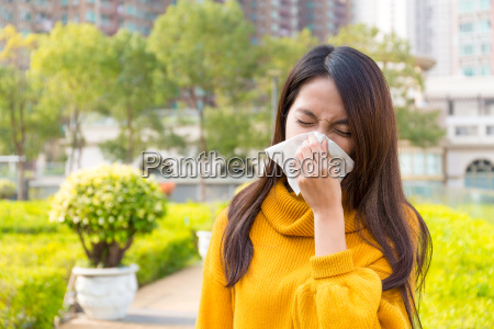 asian young woman got allergy of