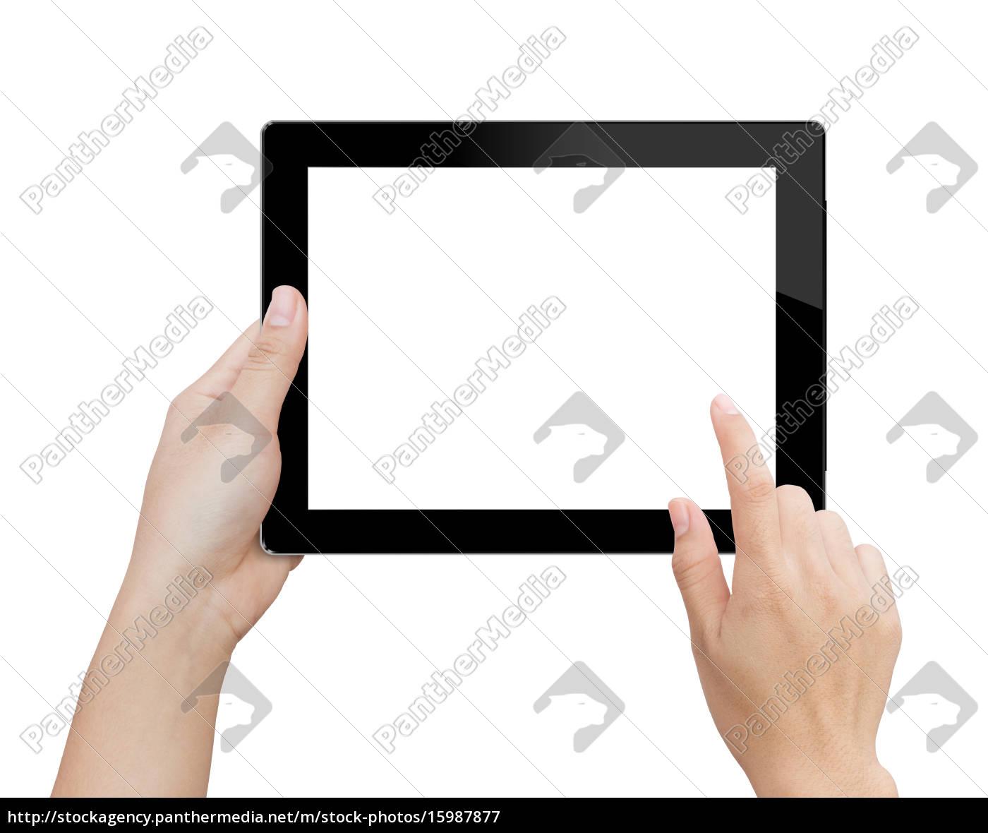 mano, donna, utilizzando, mock, up, tablet - 15987877