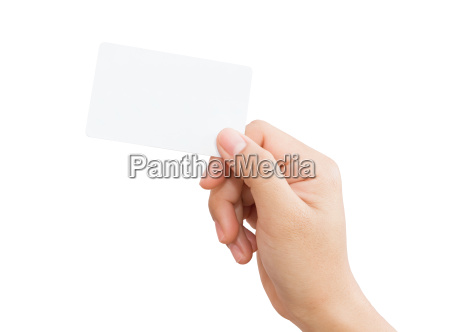 female hand holding blank card isolated