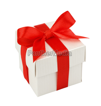 scatola regalo bianca con nastro rosso