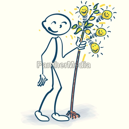 albero lampadina idee omino inventiva alberelli