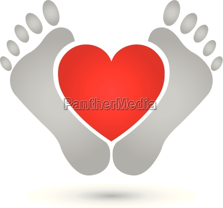 due piedi e cuore logo piedi