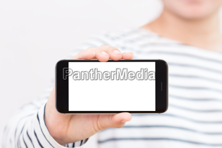 woman holding phone white screen selective