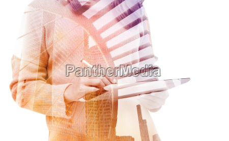 double exposure business woman using tablet