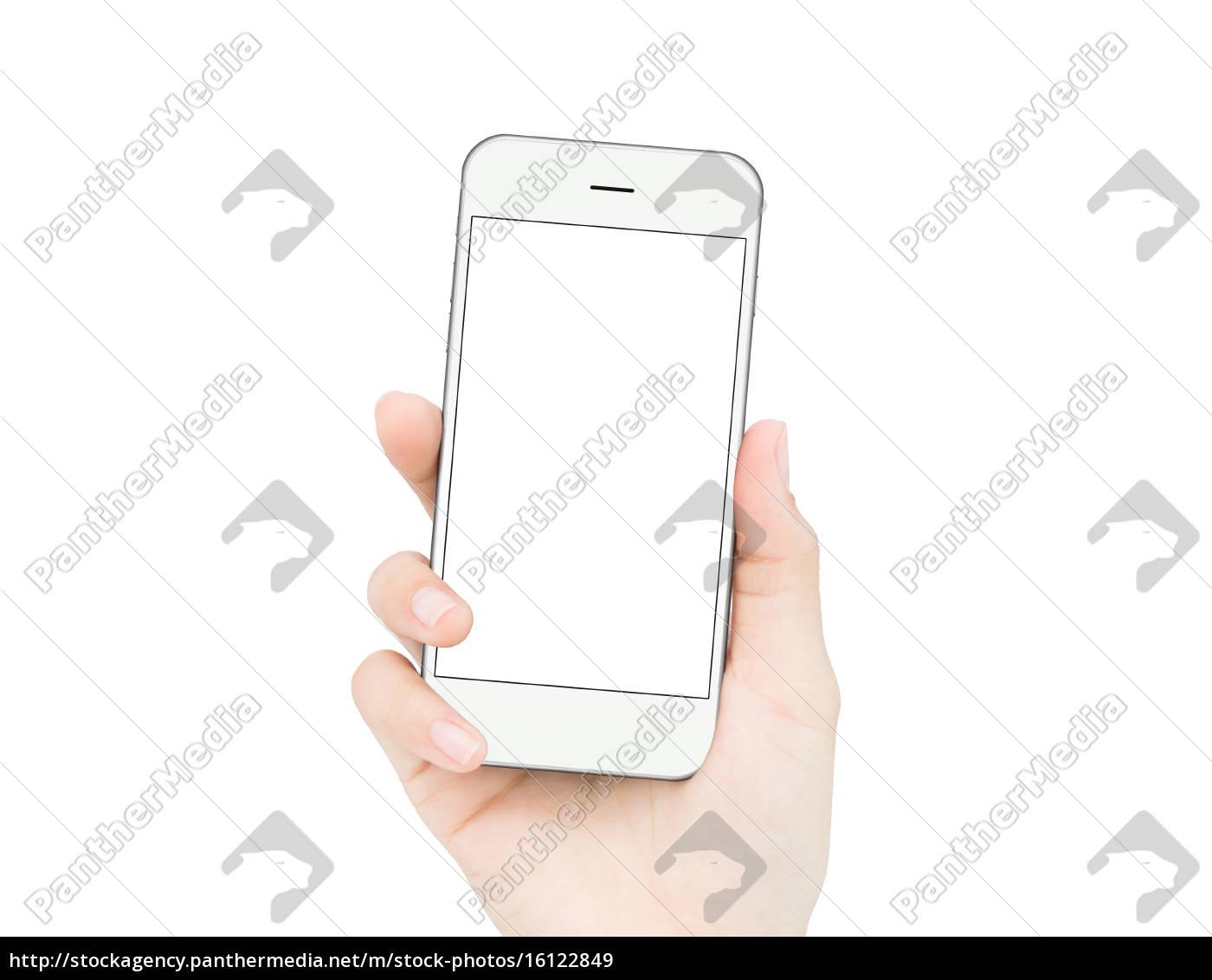 donna, mano, tenendo, telefono, isolato, percorso - 16122849
