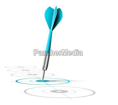 una freccetta blu colpisce il centro