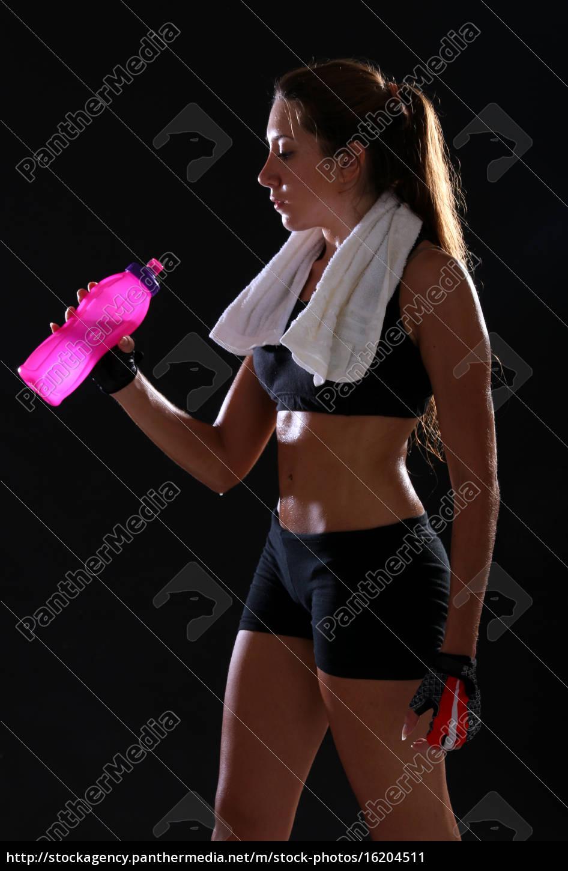 fitness., giovane, donna, acqua, potabile - 16204511